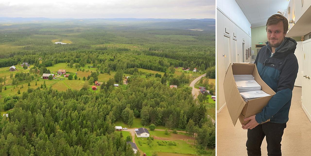 Flygbild över Rönnbacken och kommunikatör Simon Lundström som håller i en låda med 800 brev